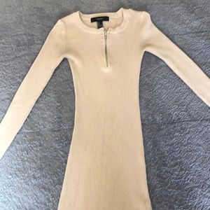 Tan fitted sweated dress